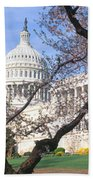 Us Capitol Building And Cherry Beach Towel