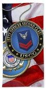 U. S. Coast Guard Petty Officer Second Class - Uscg Po2 Rank Insignia Over Us Flag Beach Towel