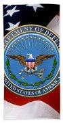 U. S. Department Of Defense - D O D Emblem Over U. S. Flag Beach Towel