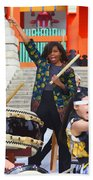 U.s. First Lady Michelle Obama  Plays The Taiko Drum  Beach Towel