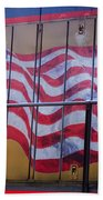 Us Flag On Side Of Freight Engine Beach Towel