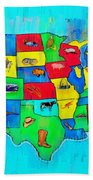 Us Map With Theme  - Free Style -  - Pa Beach Towel