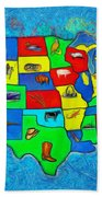 Us Map With Theme  - Van Gogh Style -  - Pa Beach Towel