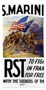 Us Marines - First To Fight In France Beach Towel