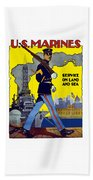 U.s. Marines - Service On Land And Sea Beach Towel