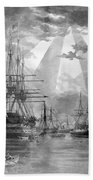 U.s. Naval Ships At The Brooklyn Navy Yard Beach Towel