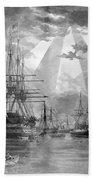 U.s. Naval Ships At The Brooklyn Navy Yard Beach Sheet