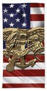 U.s. Navy Seals Trident Over U.s. Flag Beach Sheet