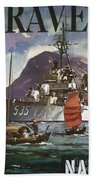 U.s. Navy Travel Poster Beach Towel