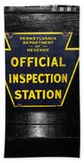 Us Route 66 Smaterjax Dwight Il Official Inspection Signage Beach Towel