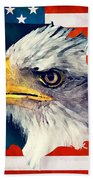 Usa Flag Eagle Beach Towel