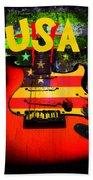 Usa Guitar Music Beach Towel