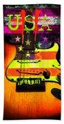 Usa Strat Guitar Music Beach Towel