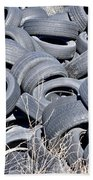 Used Tires At Junk Yard Beach Towel