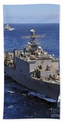 Uss Comstock Leads A Convoy Of Ships Beach Towel
