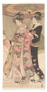 Utagawa Toyokuni I    Courtesans And Attendants Playing In The Snow Beach Towel