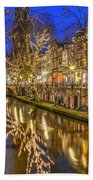 Utrecht Old Canal By Night Beach Towel