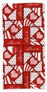 Valentine 4 Square Quilt Block Beach Towel