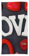 Valentines Day Hearts Beach Towel