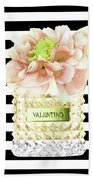 Valentino Perfume With Flower Beach Towel