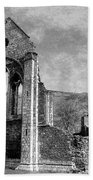 Valle Crucis Abbey Monochrome Beach Towel