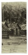 Valley Forge Barracks In Sepia Beach Towel