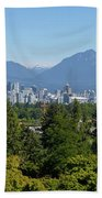 Vancouver Bc City Skyline From Queen Elizabeth Park Beach Towel