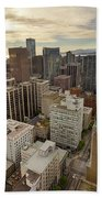 Vancouver Bc Cityscape Aerial View Beach Towel