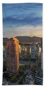 Vancouver Bc Cityscape At Sunset Beach Towel
