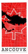 Vancouver Street Map - Vancouver Canada Road Map Art On Canada Flag Symbols Beach Towel
