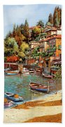 Varenna On Lake Como Beach Towel by Guido Borelli