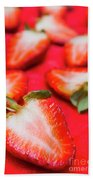 Various Sliced Strawberries Close Up Beach Towel