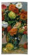 Vase Of Flowers Beach Towel by Pierre Auguste Renoir