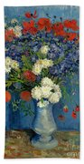 Vase With Cornflowers And Poppies Beach Sheet