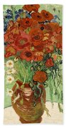 Vase With Daisies And Poppies Beach Sheet