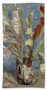 Vase With Gladioli And Chinese Asters Paris, August - September 1886 Vincent Van Gogh 1853  1890 Beach Towel
