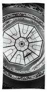Vatican Staircase Looking Up Black And White Beach Towel