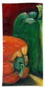 Vegetable Still Life Green And Orange Pepper Grace Venditti Montreal Art Beach Towel