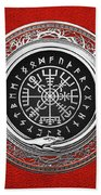 Vegvisir - A Silver Magic Viking Runic Compass On Red Leather  Beach Sheet