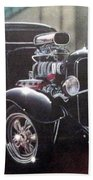 Vehicle- Black Hot Rod  Beach Towel