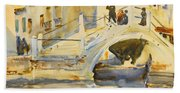 Venice. Bridge With Figures  Beach Towel
