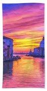 Venice Grand Canal At Sunset Beach Towel