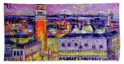 Venice Night View Modern Textural Impressionist Stylized Cityscape Beach Towel