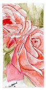 Vermilion Pink Roses Beach Towel