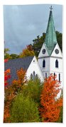 Vermont Church In Autumn Beach Sheet by Catherine Sherman