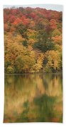 Vermont Fall Foliage Reflected On Pogue Pond Beach Towel