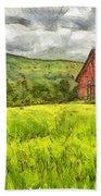 Vermont Farm Landscape Pencil Beach Towel