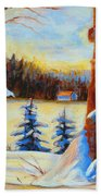 Vermont Log Cabin Maple Syrup Time Beach Towel