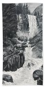 Vernal Falls Black And White Beach Towel