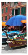 Vernazza Boats Beach Towel